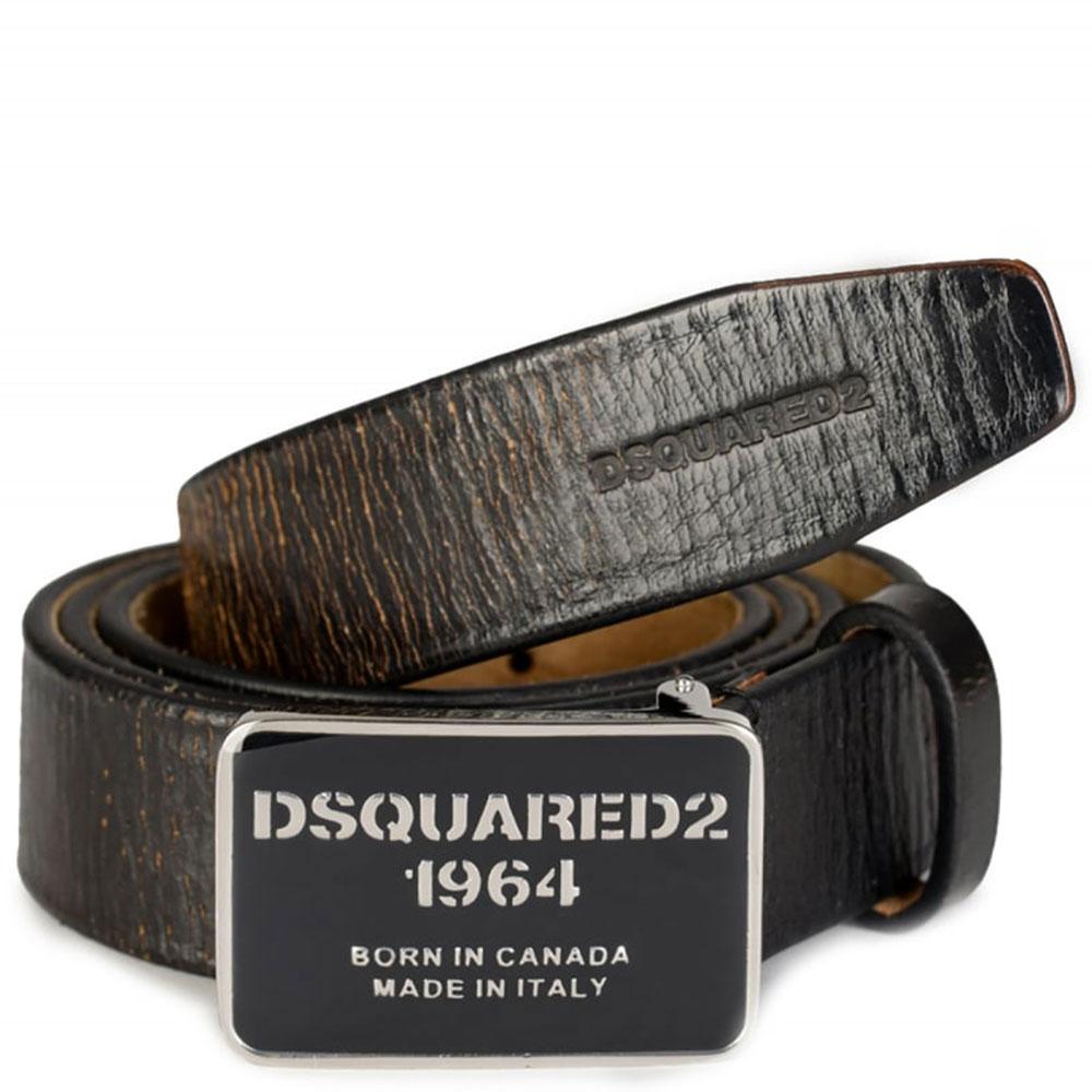 Черный ремень Dsquared2 с фирменной пряжкой