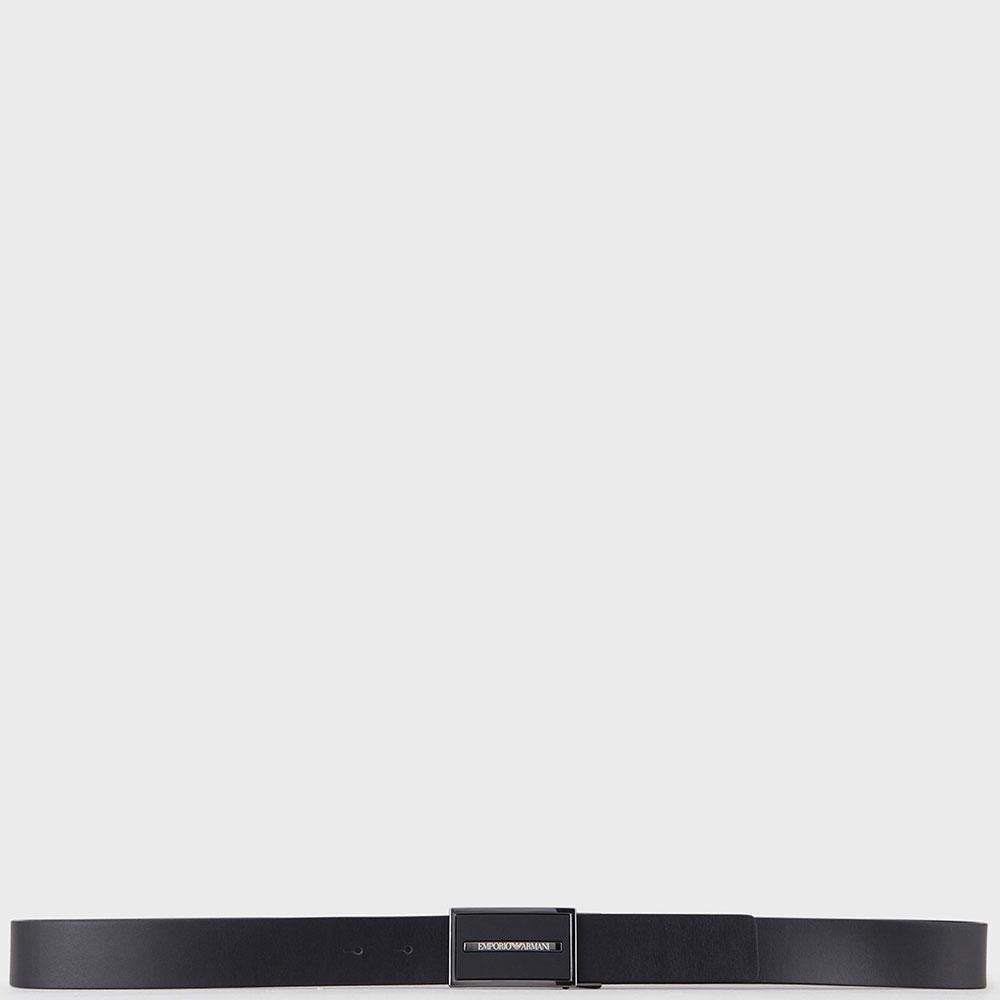 Черный ремень Emporio Armani с прямоугольной пряжкой