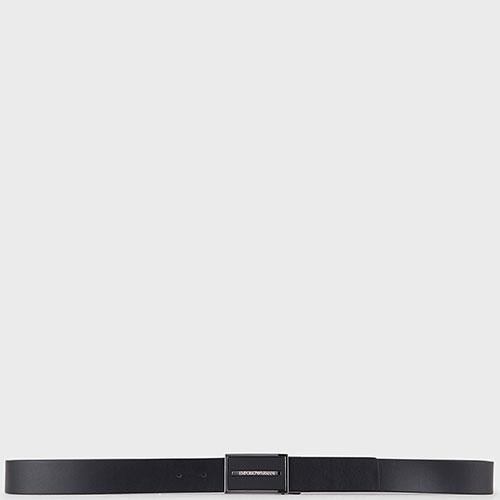 Черный ремень Emporio Armani с прямоугольной пряжкой, фото