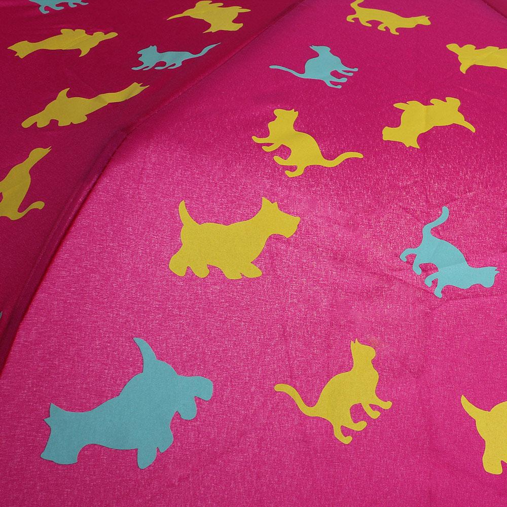 Розовый складной зонт Boutique Moschino с принтом в виде животных