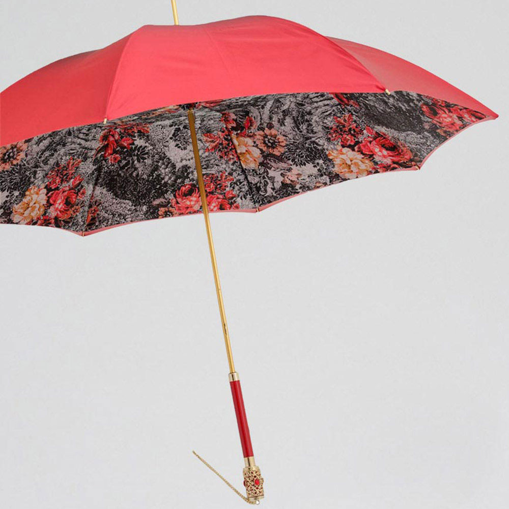 Красный зонт-трость Pasotti с цепочкой