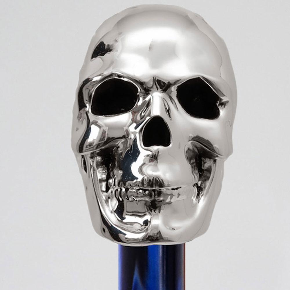 Синий зонт-трость Pasotti с ручкой в виде черепа