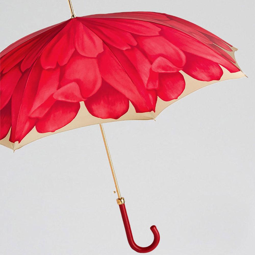 Красный зонт-трость Pasotti с растительным принтом
