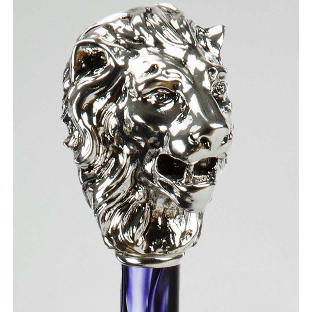 Полосатый зонт-трость Pasotti с ручкой в виде головы льва