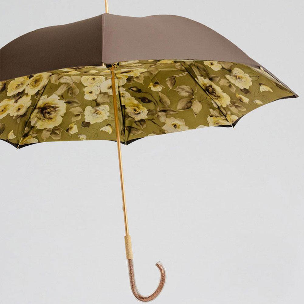 Черный зонт-трость Pasotti с блестящей ручкой