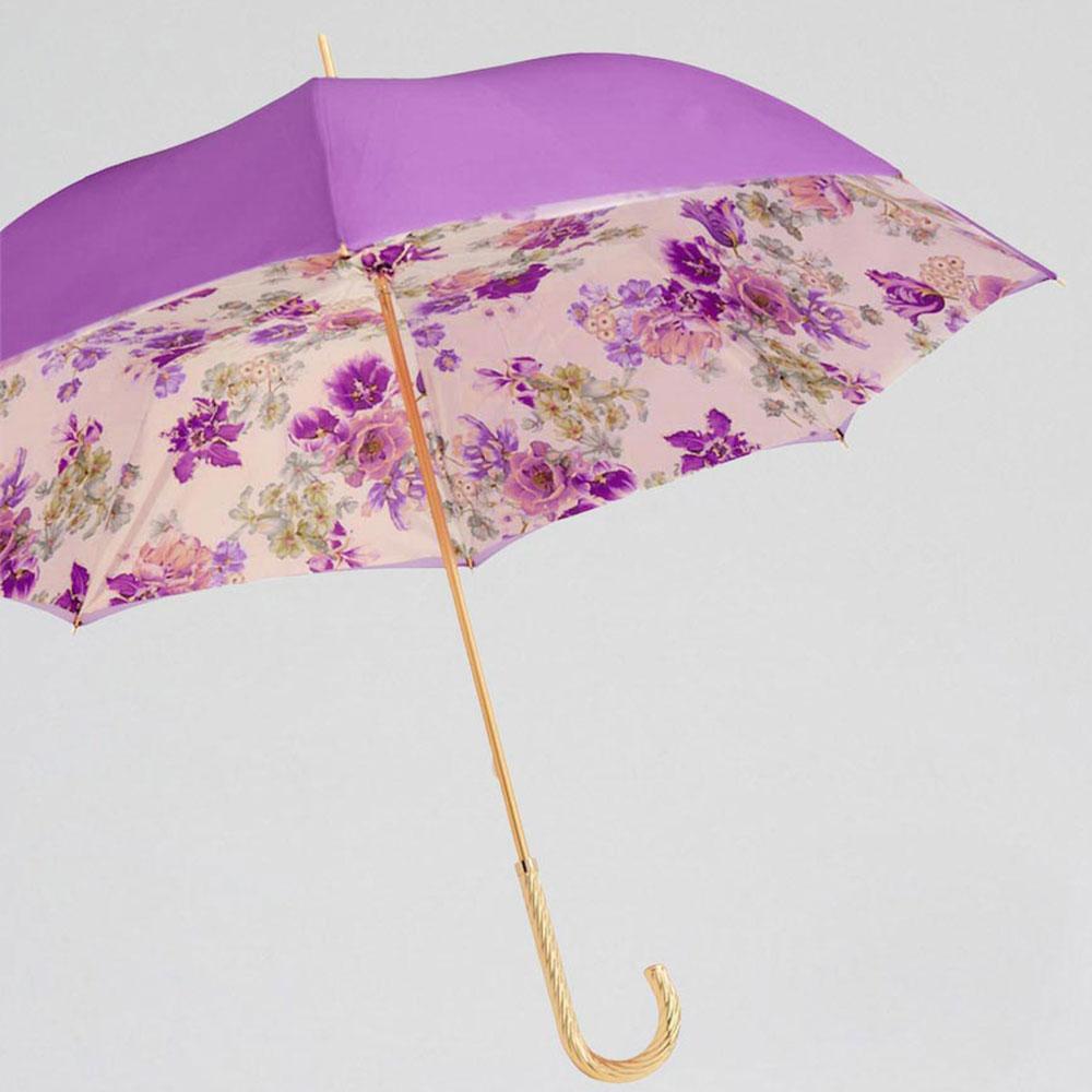 Зонт-трость Pasotti с цветочным принтом внутри