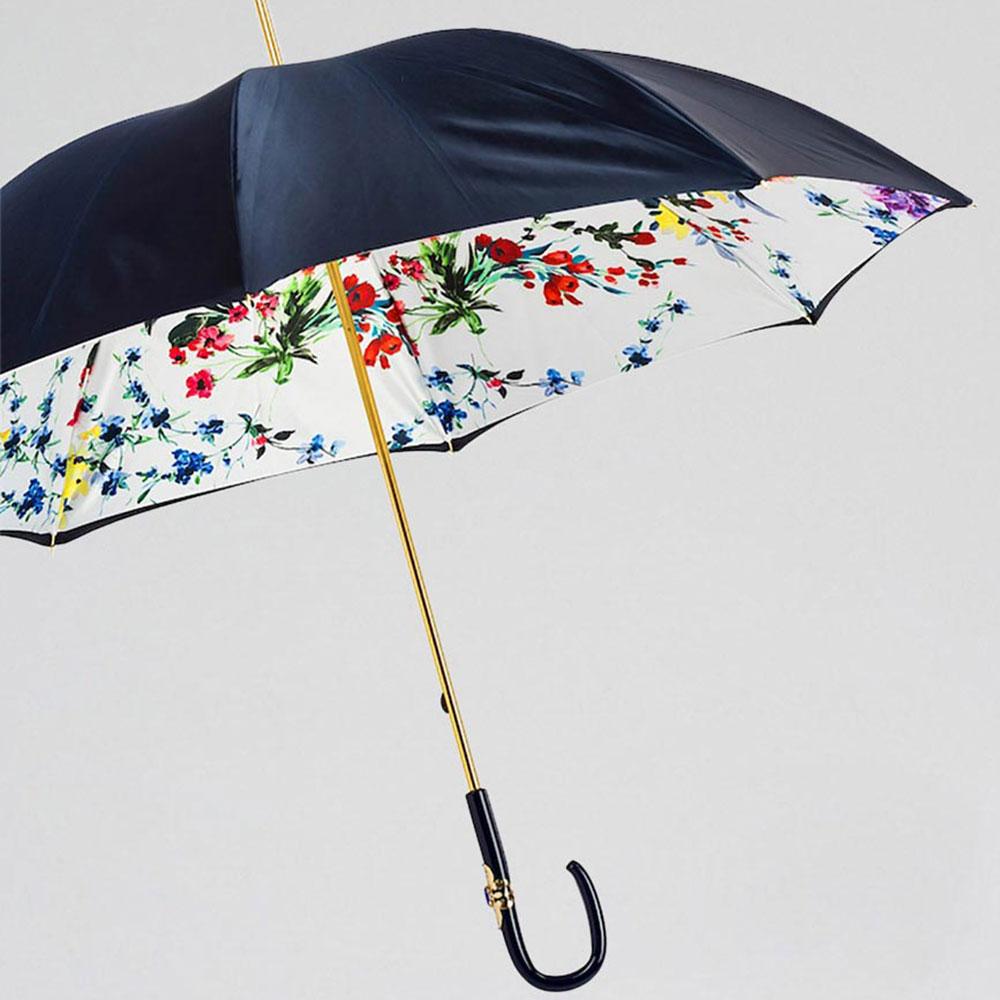 Синий зонт-трость Pasotti с декором на ручке
