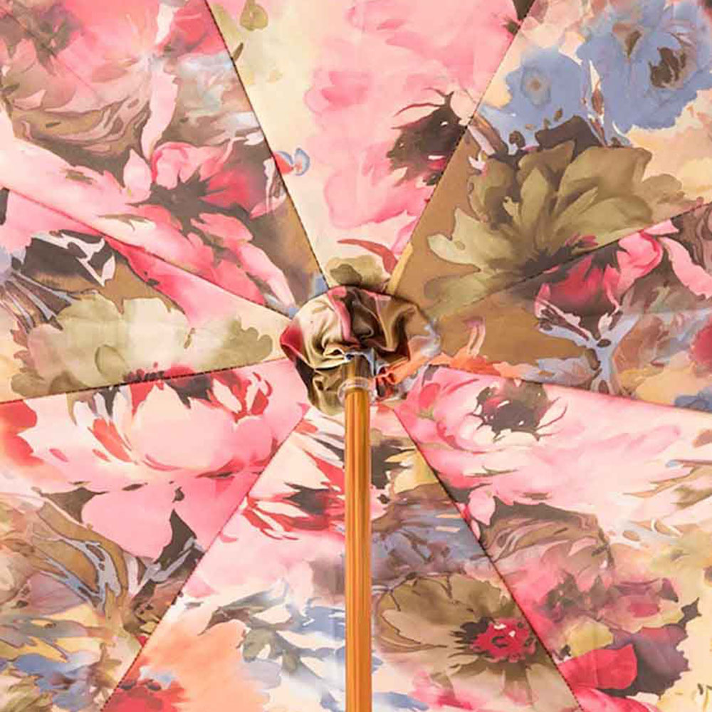 Голубой зонт-трость Pasotti с рифленной ручкой