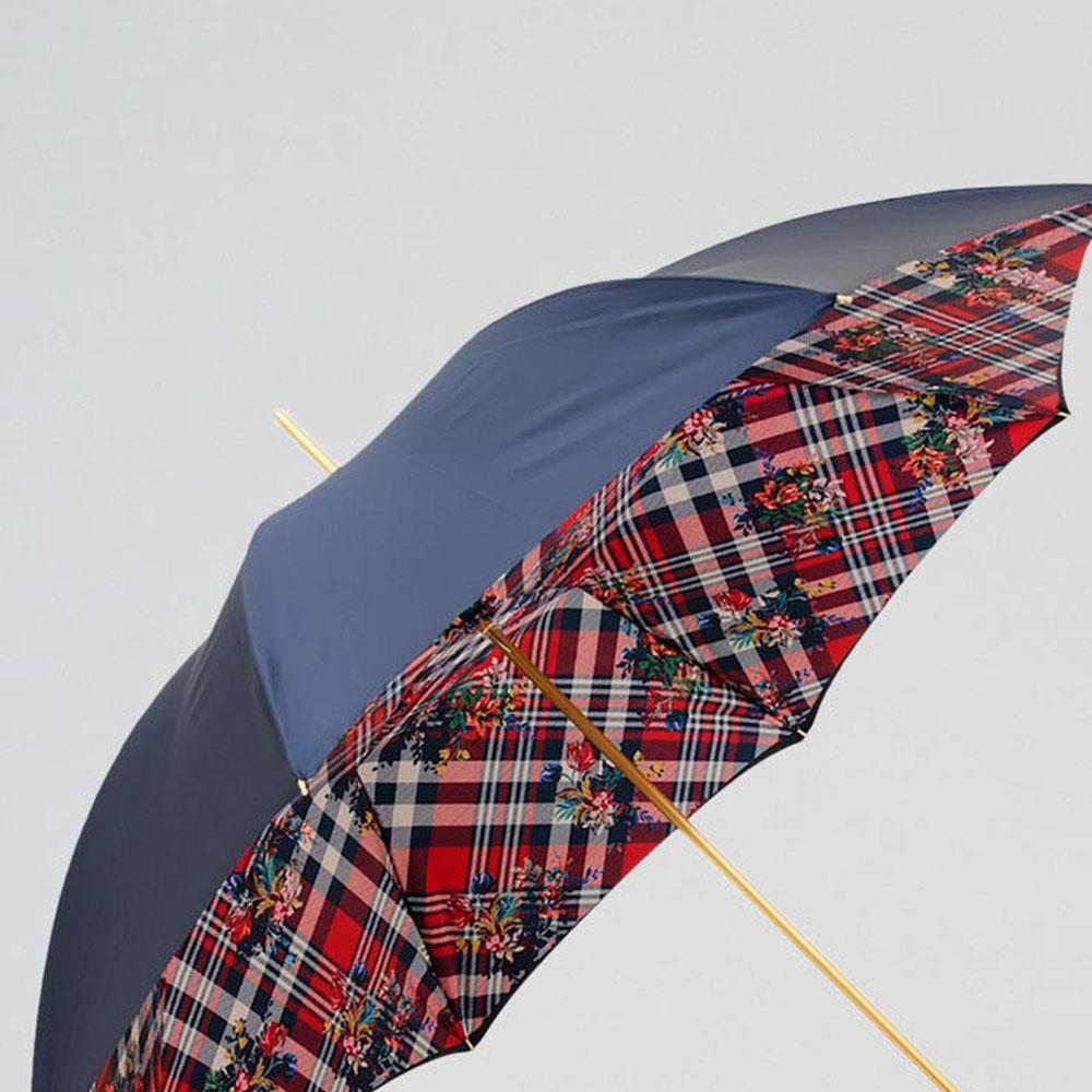 Синий зонт-трость Pasotti с клетчатым принтом внутри