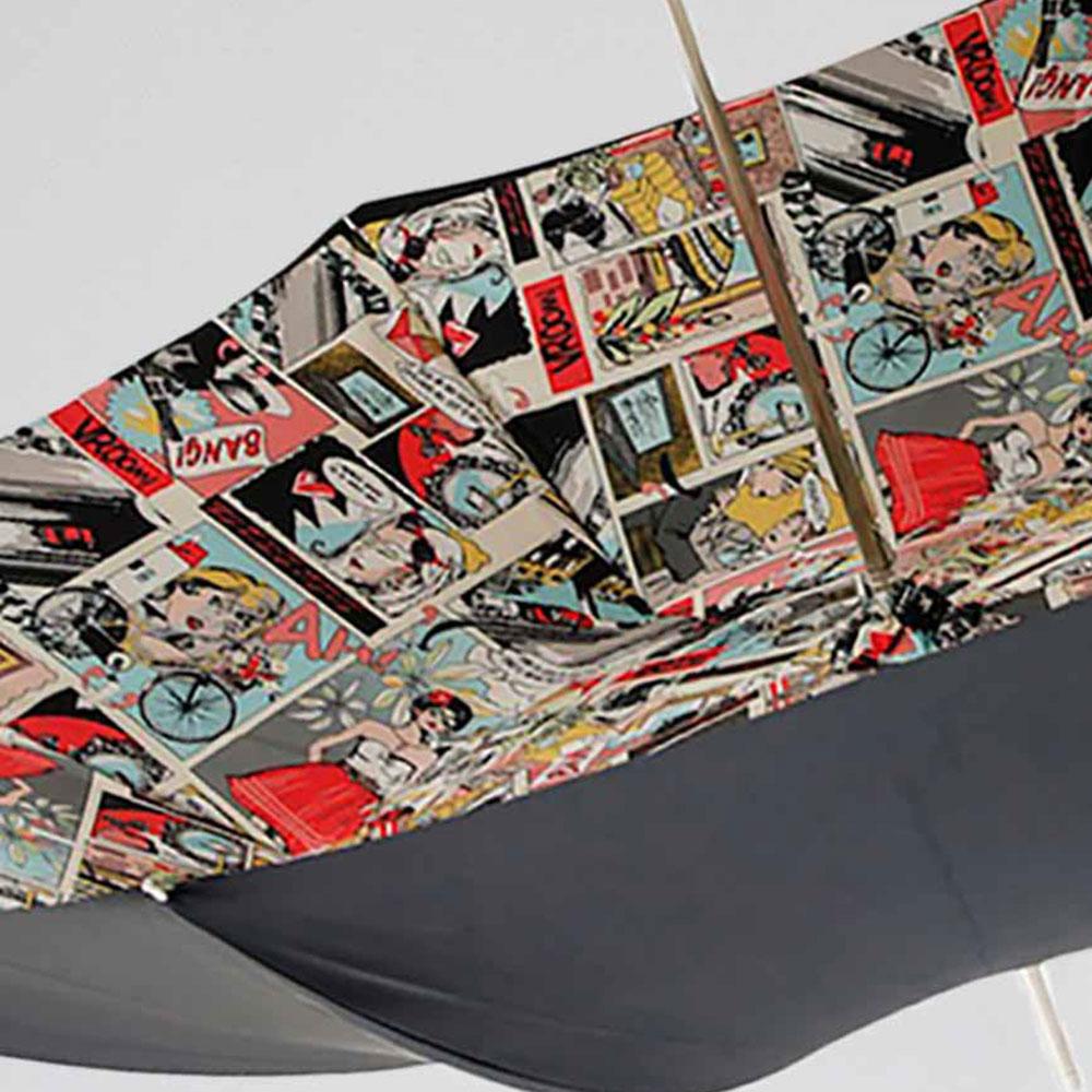 Черный зонт-трость Pasotti с принтом-комиксами внутри