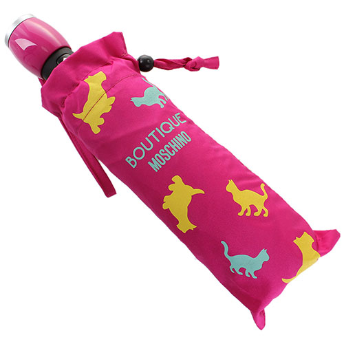 Розовый складной зонт Boutique Moschino с принтом в виде животных, фото