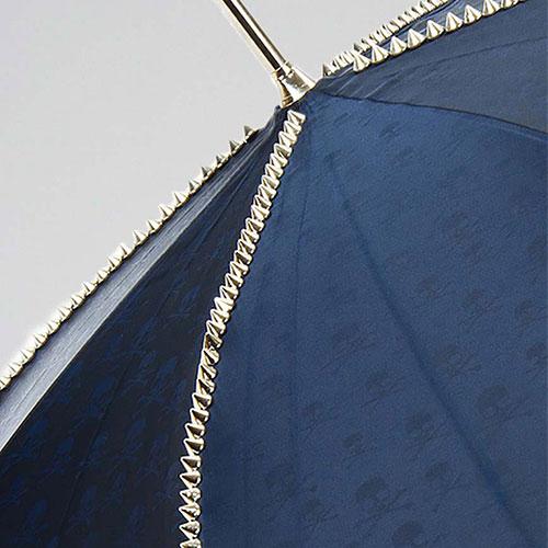Синий зонт-трость Pasotti с ручкой в виде черепа, фото