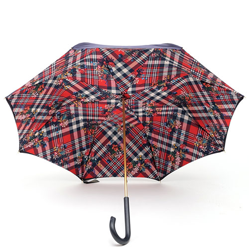 Зонт двухцветный Pasotti в красную клетку с цветами, фото