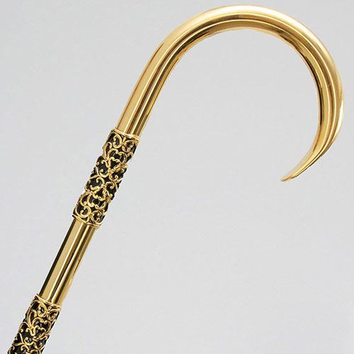 Черный зонт-трость Pasotti с латунной ручкой, фото