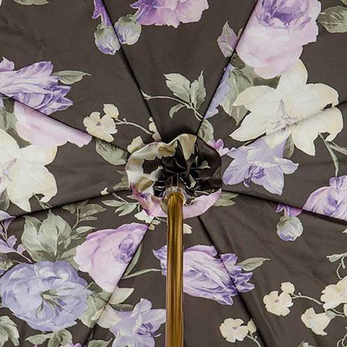 Сиреневый зонт-трость Pasotti с цветочным принтом внутри, фото