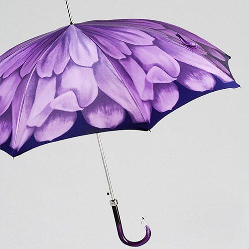 Сиреневый зонт-трость Pasotti с полупрозрачной ручкой, фото