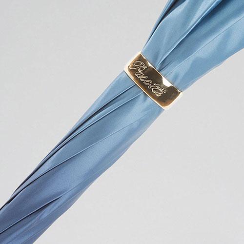 Голубой зонт-трость Pasotti с рифленной ручкой, фото