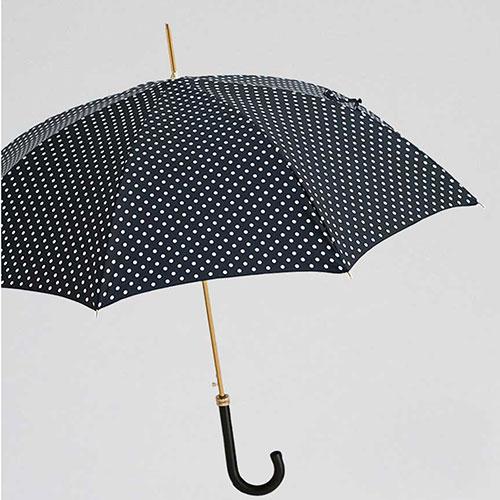 Черный зонт-трость Pasotti в горошек, фото