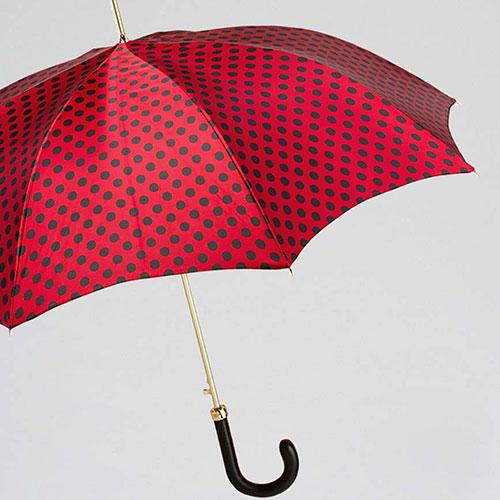 Зонт-трость Pasotti красный в черный горошек, фото