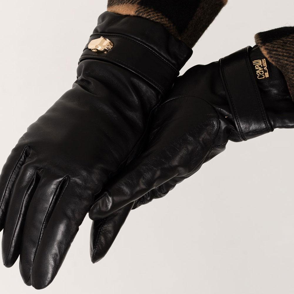 Черные женские перчатки Cavalli Class с металлическим декором