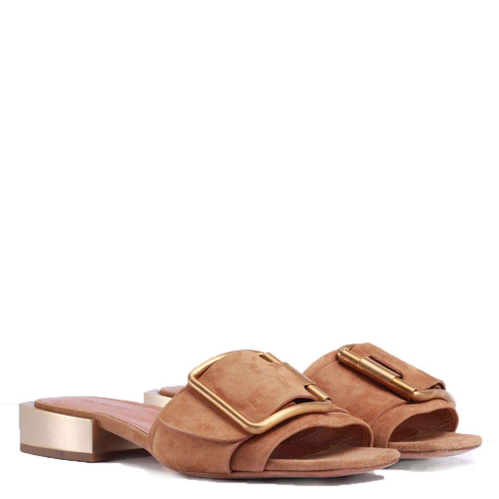 Шлепанцы Vic Matie коричневого цвета с декором-пряжкой