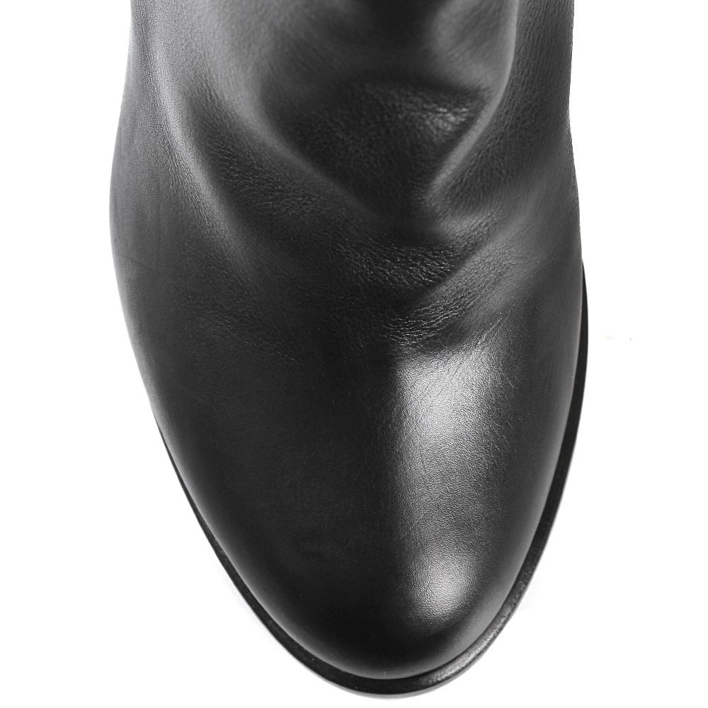 Зимние сапоги Vittorio Virgili из кожи черного цвета на среднем толстом каблуке