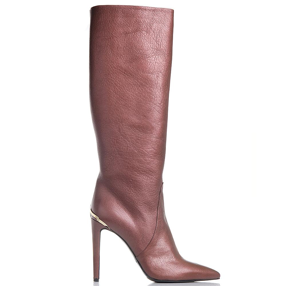 Кожаные сапоги на шпильке Left and Right коричневого цвета
