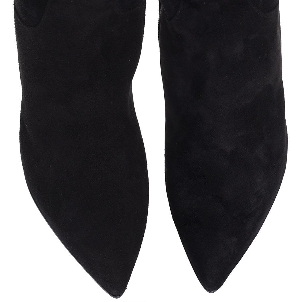 Ботфорты H'Estia di Venezia из замши черного цвета с вышивкой в виде птиц