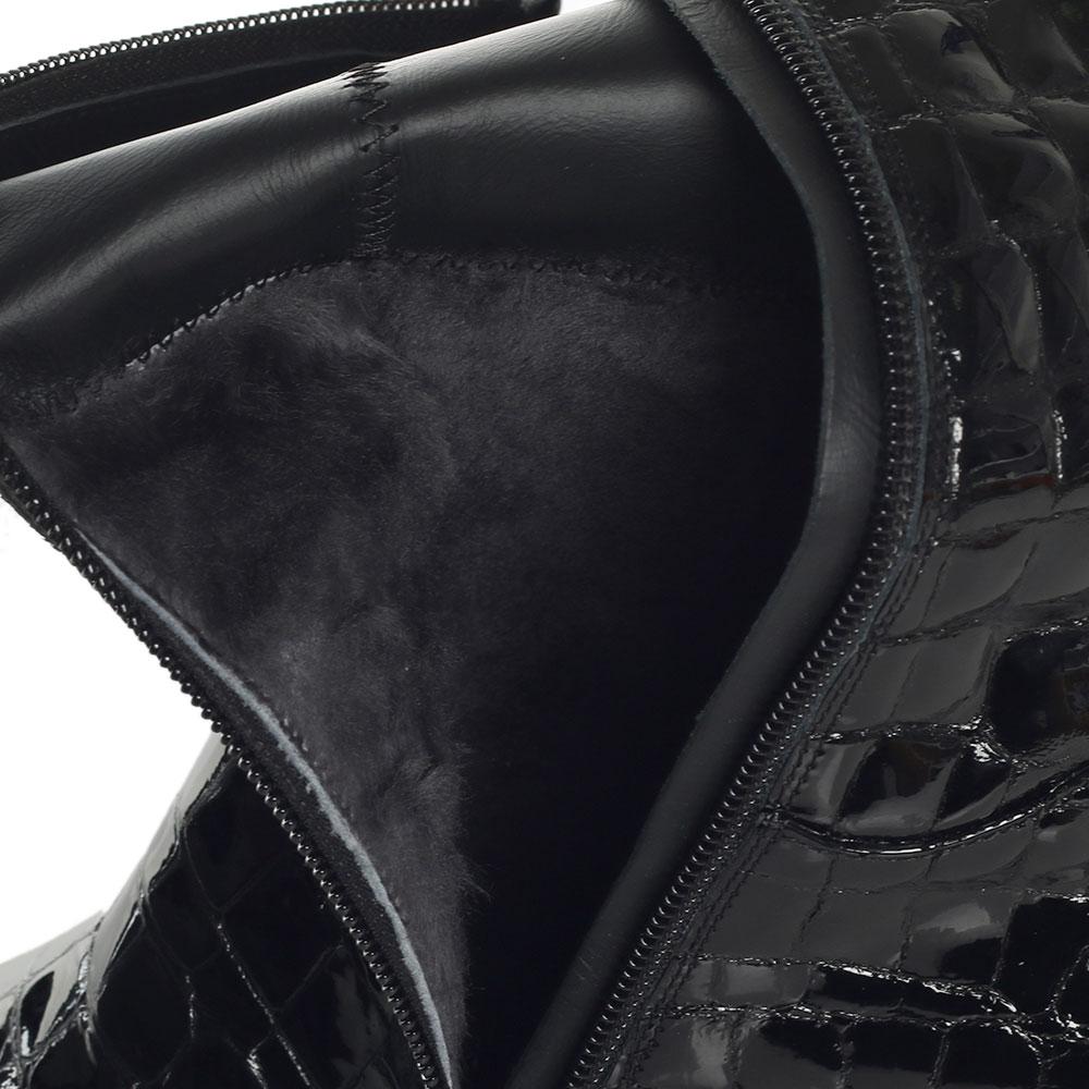 Черные сапоги Loriblu с тиснением под рептилию