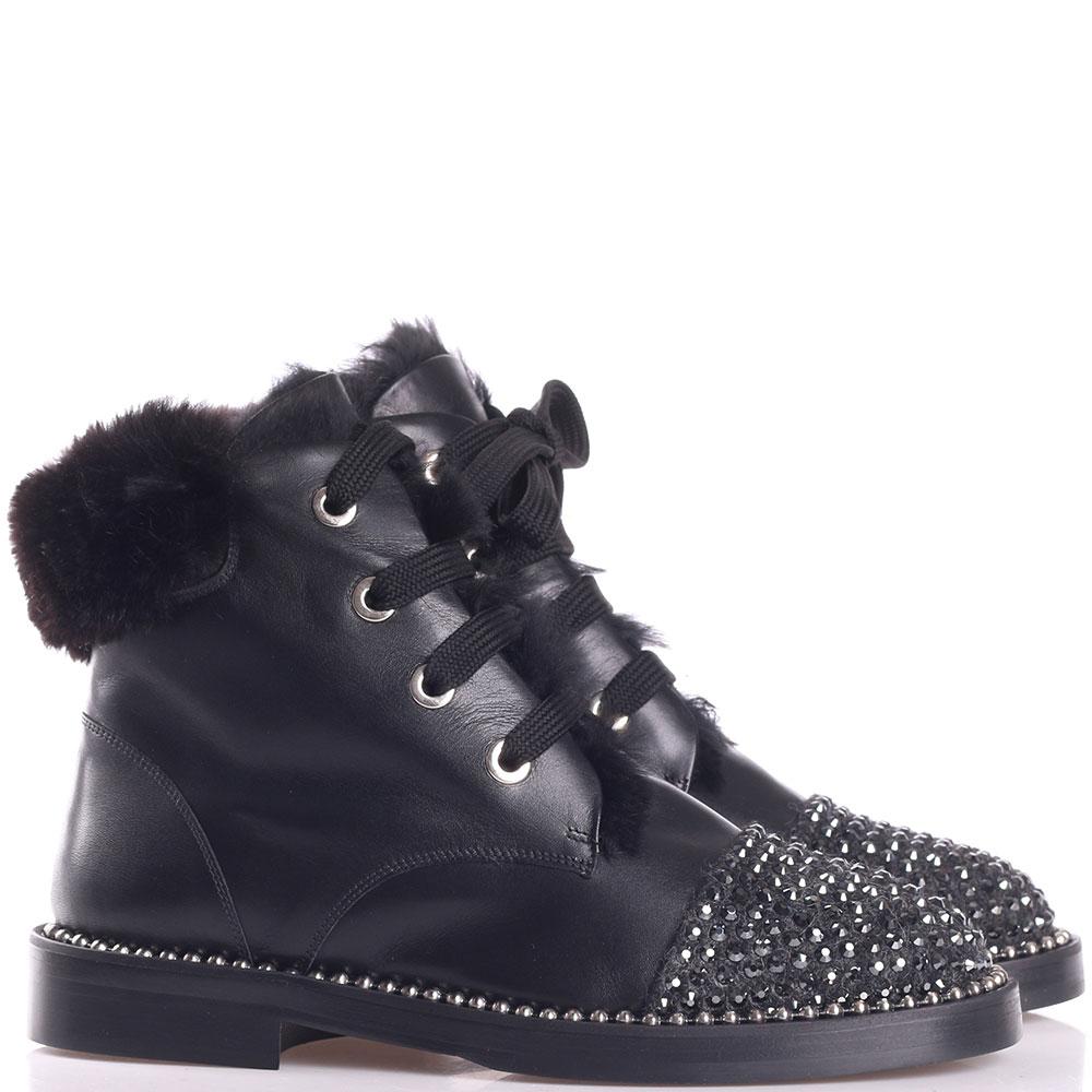 Черные ботинки Eddy Daniele со стразами на носке