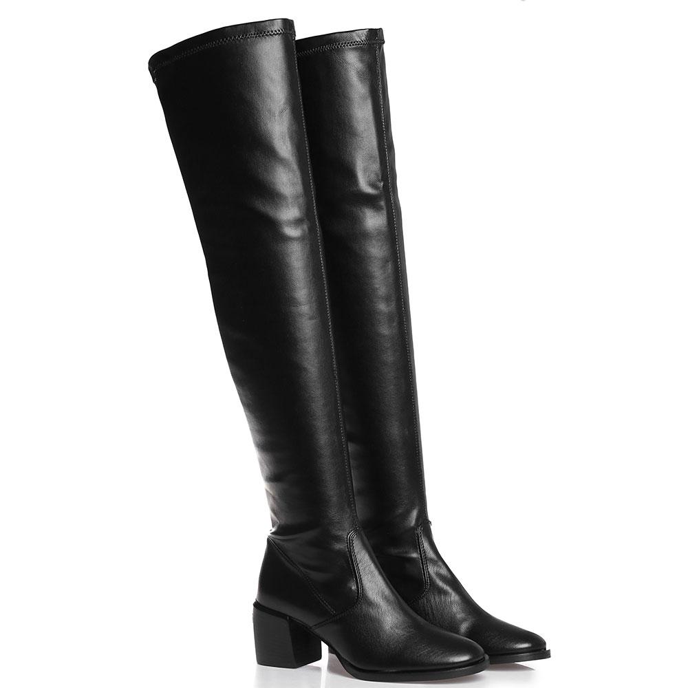 Черные ботфорты Mally на устойчивом каблуке