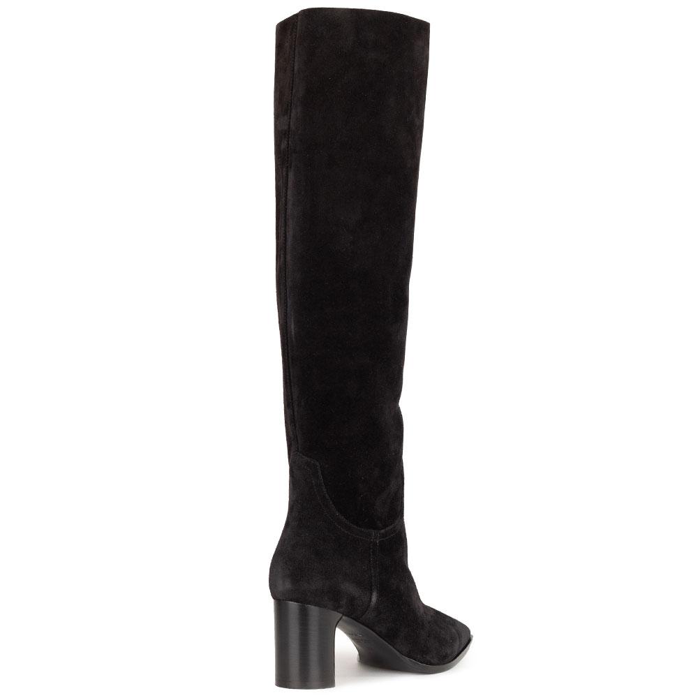 Замшевые ботфорты Casadei черного цвета