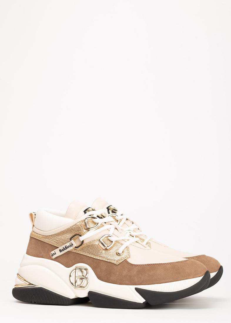 Бежевые кроссовки Baldinini из кожи и замши