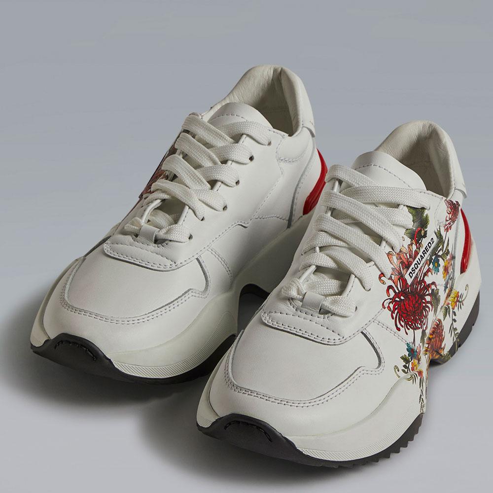 Белые кроссовки Dsquared2 с цветочным принтом