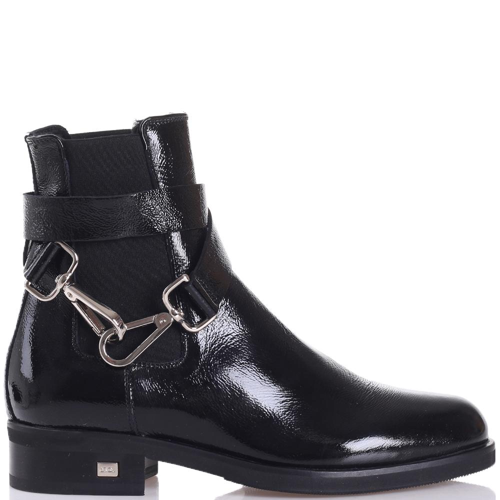 Черные ботинки John Galliano с декоративным ремешком