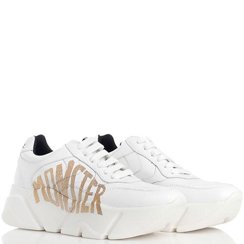 Белые кроссовки Voile Blanche Monster с золотистым принтом, фото