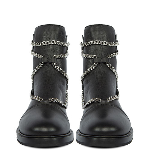 Ботинки Casadei на низком каблуке с цепочками, фото