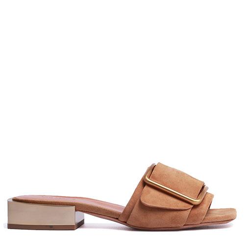 Шлепанцы Vic Matie коричневого цвета с декором-пряжкой, фото