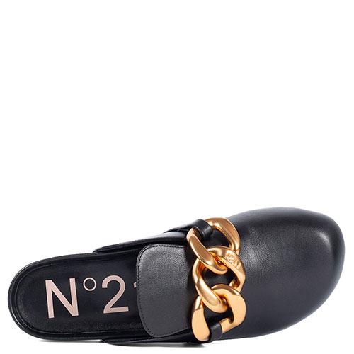 Черные мюли N21 с металлическим декором, фото