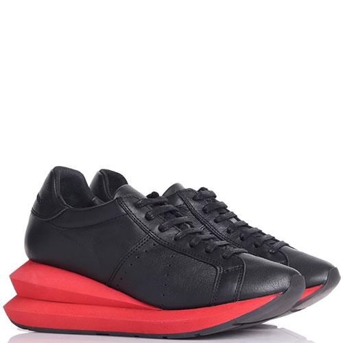 Черные кроссовки Manuel Barcelo на красной массивной подошве, фото