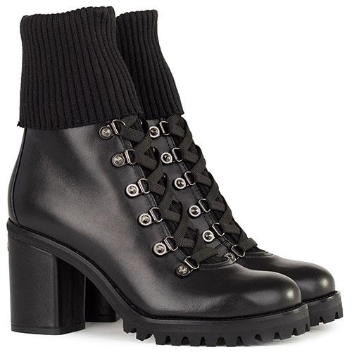 Черные ботинки Le Silla на каблуке с текстильным чулком, фото