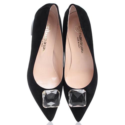 Черные туфли Fabio Di Luna с крупным камнем на носке, фото