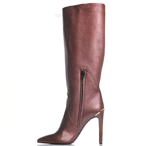 Кожаные сапоги на шпильке Left and Right коричневого цвета, фото
