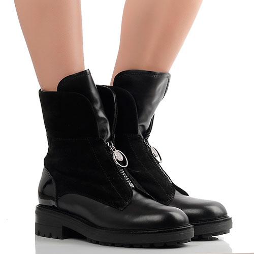 Черные ботинки Giovanni Fabiani из комбинации кожи и замши, фото
