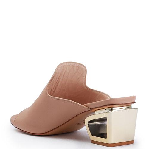 Бежевые мюли Danielle на необычном каблуке, фото