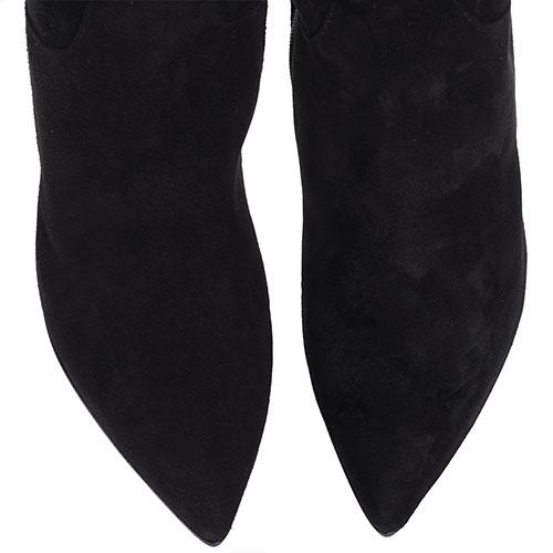 Ботфорты H'Estia di Venezia из замши черного цвета с вышивкой в виде птиц, фото