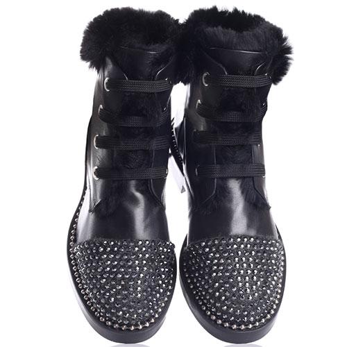 Черные ботинки Eddy Daniele со стразами на носке, фото