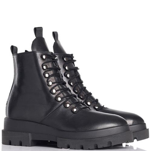 Ботинки на меху Angelo Bervicato из кожи черного цвета, фото