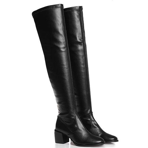 Черные ботфорты Mally на устойчивом каблуке, фото