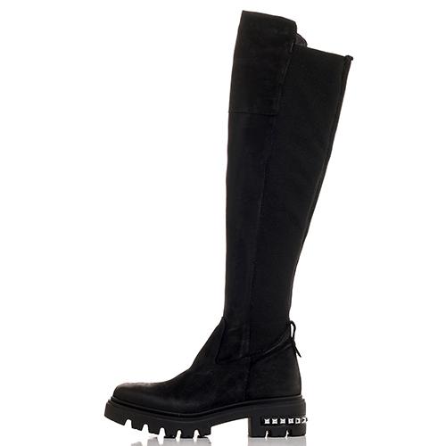 Черные сапоги Mally с металлическим декором на каблуке, фото
